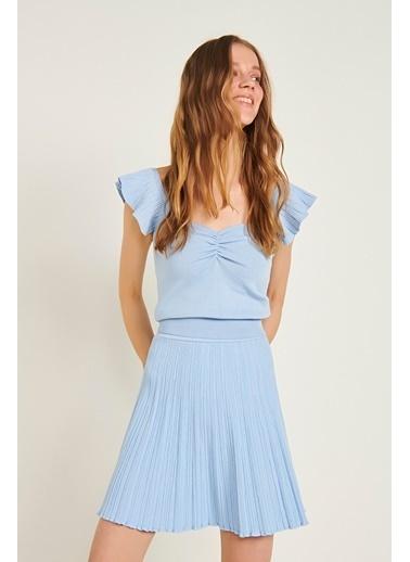 Join Us Büzgü Detaylı Kolları Fırfrılı Triko Bluz Mavi